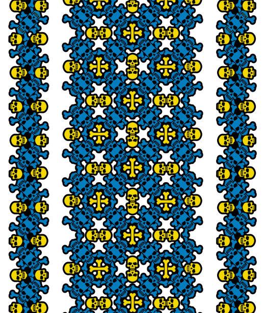 Авто вышиванка белый желтый голубой (embroidery_47)